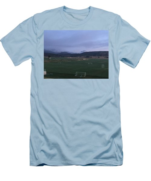 Men's T-Shirt (Slim Fit) featuring the photograph Cloudy Morning At The Field by Christin Brodie