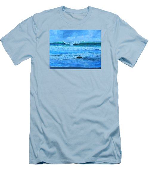 Men's T-Shirt (Slim Fit) featuring the painting Cocoa Beach Surf by AnnaJo Vahle