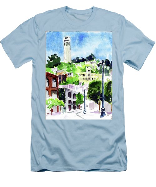 Coit Tower From The Embarcadero Men's T-Shirt (Slim Fit) by Tom Simmons