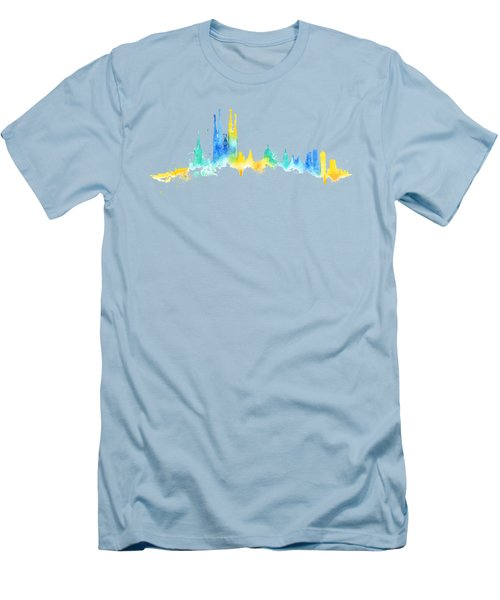 Color Barcelona Skyline 02 Men's T-Shirt (Slim Fit) by Aloke Creative Store