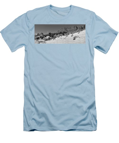 Men's T-Shirt (Slim Fit) featuring the photograph Colorado Winter Rock Garden Black And White by Adam Jewell
