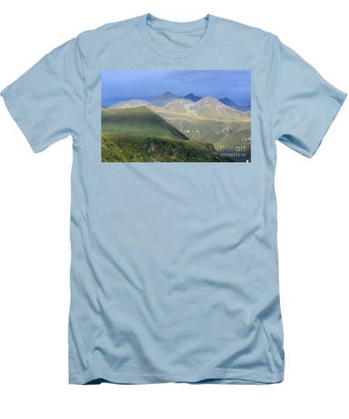 Men's T-Shirt (Slim Fit) featuring the photograph Colored Peaks Of The Caucasus by Arik Baltinester