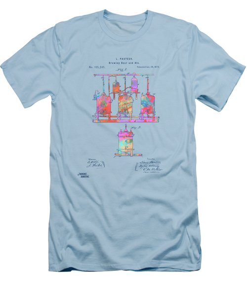Colorful 1873 Brewing Beer And Ale Patent Artwork Men's T-Shirt (Athletic Fit)