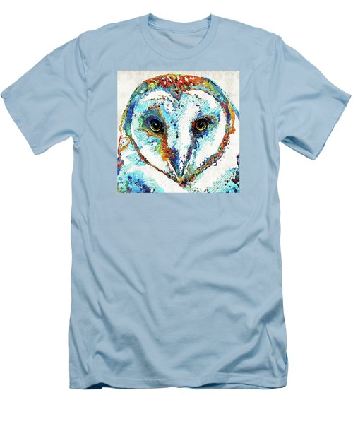 Colorful Barn Owl Art - Sharon Cummings Men's T-Shirt (Slim Fit) by Sharon Cummings