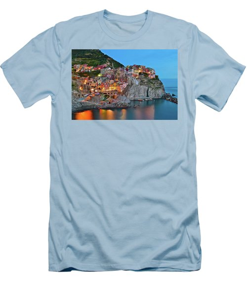 Men's T-Shirt (Slim Fit) featuring the photograph Colorful Buildings Colorful Lights by Frozen in Time Fine Art Photography