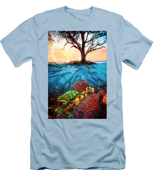 Men's T-Shirt (Slim Fit) featuring the photograph Colorful Coral Seas by Debra and Dave Vanderlaan