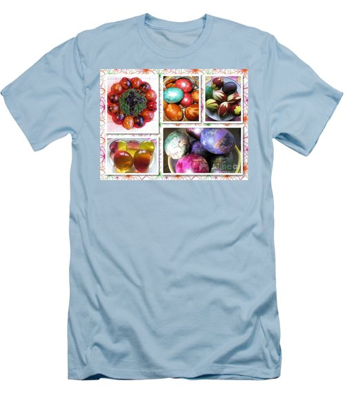 Men's T-Shirt (Athletic Fit) featuring the photograph Colorful Easter Eggs Collage 07 by Ausra Huntington nee Paulauskaite