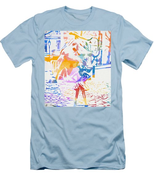 Men's T-Shirt (Slim Fit) featuring the painting Colorful Fearless Girl by Dan Sproul