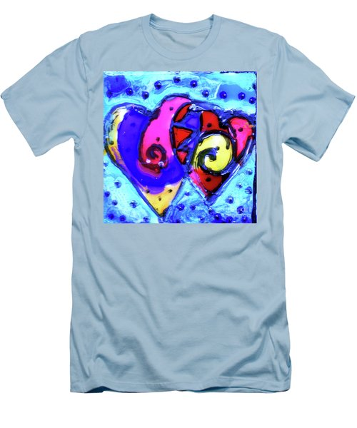 Men's T-Shirt (Slim Fit) featuring the painting Colorful Hearts Equals Crazy Hearts by Genevieve Esson