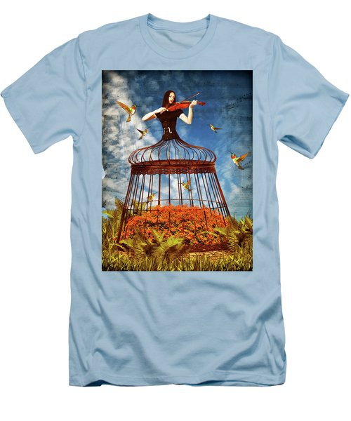 Colorful Hummingbird Song Men's T-Shirt (Slim Fit) by Mihaela Pater