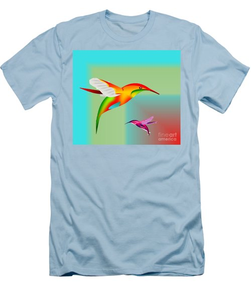 Colorful Hummingbirds Men's T-Shirt (Athletic Fit)
