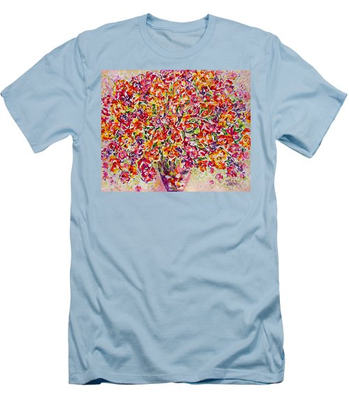 Men's T-Shirt (Slim Fit) featuring the painting Colorful Organza by Natalie Holland