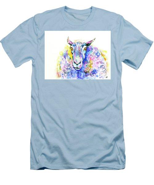 Men's T-Shirt (Slim Fit) featuring the painting Colorful Sheep by Zaira Dzhaubaeva