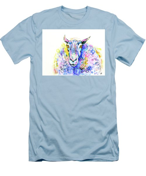 Men's T-Shirt (Athletic Fit) featuring the painting Colorful Sheep by Zaira Dzhaubaeva