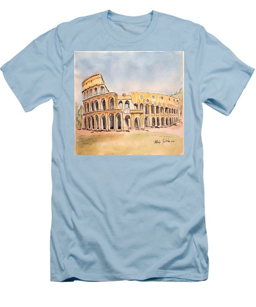 Men's T-Shirt (Slim Fit) featuring the painting Colosseum by Marilyn Zalatan
