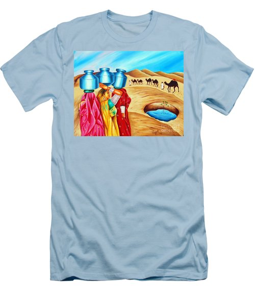 Men's T-Shirt (Slim Fit) featuring the painting Colour Of Oasis by Ragunath Venkatraman