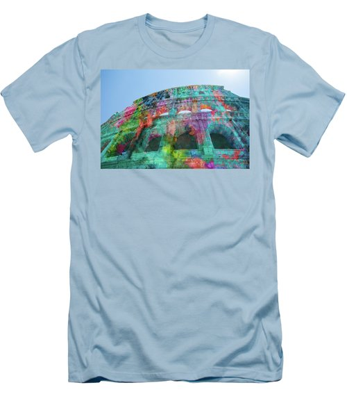 Men's T-Shirt (Athletic Fit) featuring the mixed media Colourful Grungy Colosseum In Rome by Clare Bambers