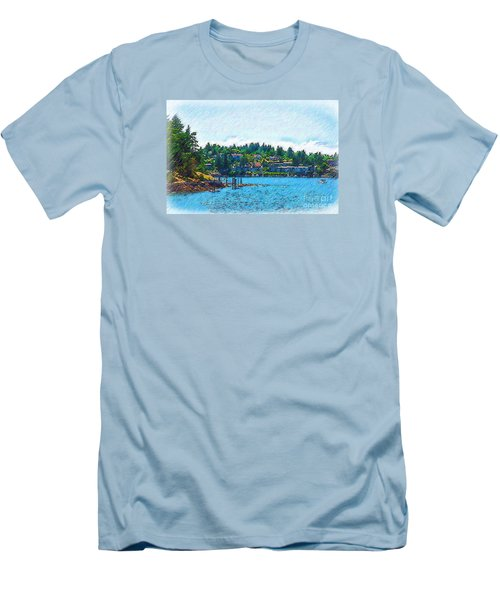 Men's T-Shirt (Slim Fit) featuring the digital art Coming Into Friday Harbor by Kirt Tisdale