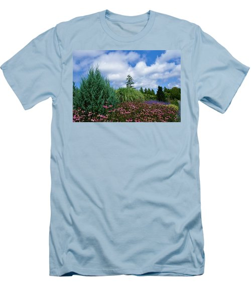 Coneflowers And Clouds Men's T-Shirt (Slim Fit) by Lois Lepisto