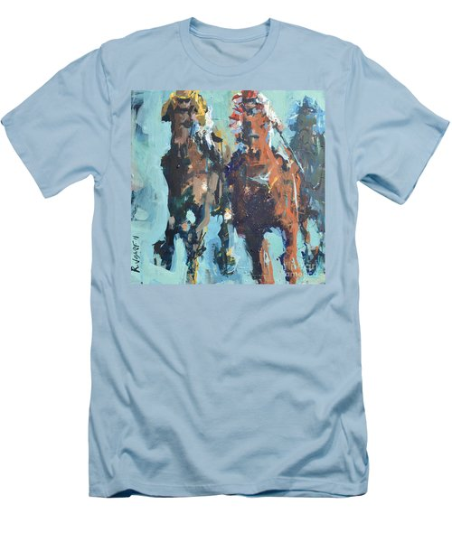 Contemporary Horse Racing Painting Men's T-Shirt (Athletic Fit)