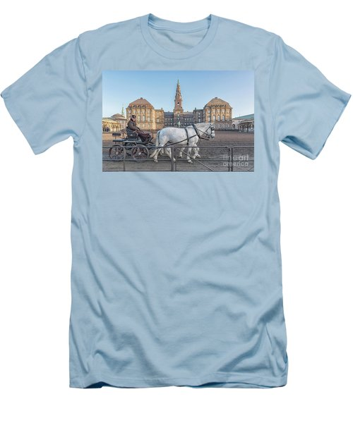 Men's T-Shirt (Slim Fit) featuring the photograph Copenhagen Christianborg Palace Horse And Cart by Antony McAulay