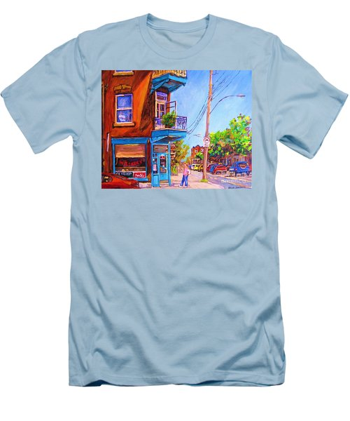 Men's T-Shirt (Slim Fit) featuring the painting Corner Deli Lunch Counter by Carole Spandau
