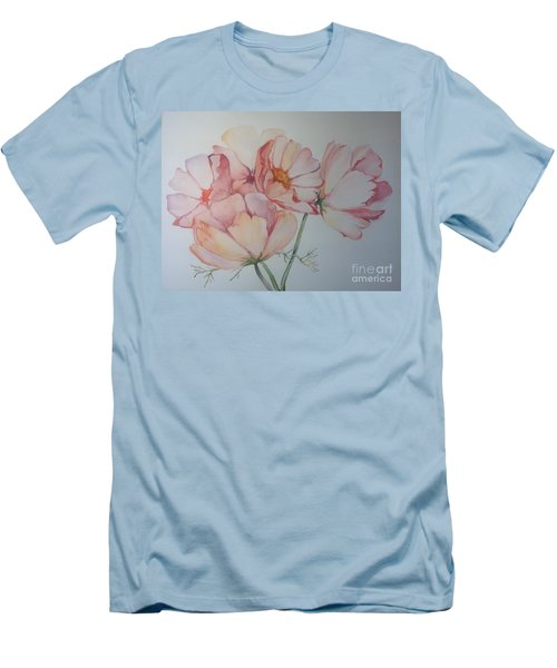 Men's T-Shirt (Slim Fit) featuring the painting Cosmea by Iya Carson