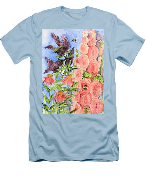 Cottage Garden Hollyhock Bees Blue Skie Men's T-Shirt (Slim Fit) by Laurie Rohner
