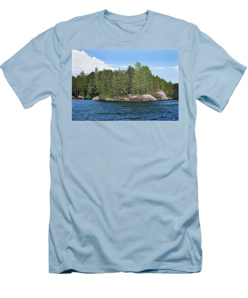 Men's T-Shirt (Slim Fit) featuring the painting Cottage View Silver Lake by Kenneth M Kirsch