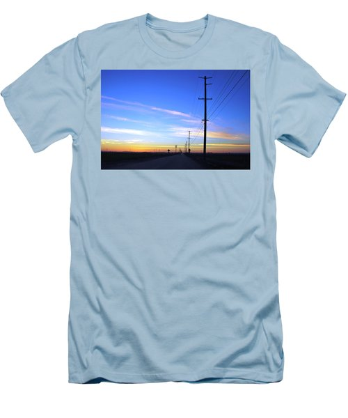 Men's T-Shirt (Athletic Fit) featuring the photograph Country Open Road Sunset - Blue Sky by Matt Harang
