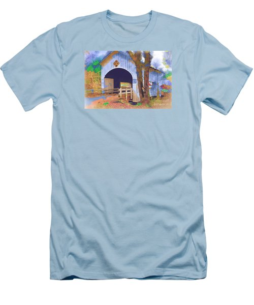 Covered Bridge In Watercolor Men's T-Shirt (Slim Fit) by Kirt Tisdale
