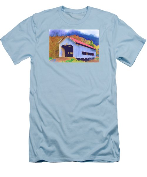 Covered Bridge With Red Roof Men's T-Shirt (Slim Fit) by Kirt Tisdale