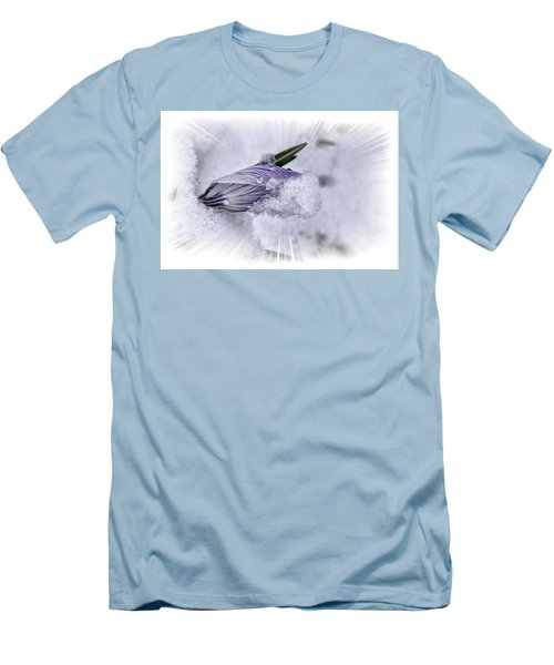 Crocus Pushing Through Snow Men's T-Shirt (Slim Fit) by Constantine Gregory