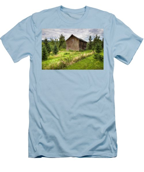 Men's T-Shirt (Slim Fit) featuring the photograph Crooked Old Barn On South 21 - Finger Lakes New York State by Gary Heller