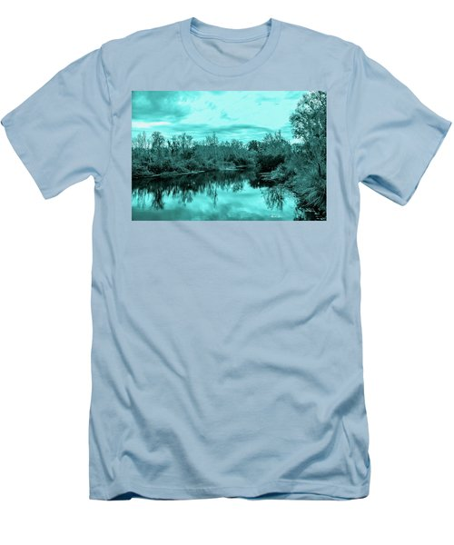 Men's T-Shirt (Slim Fit) featuring the photograph Cyan Dreaming - Sarasota Pond by Madeline Ellis