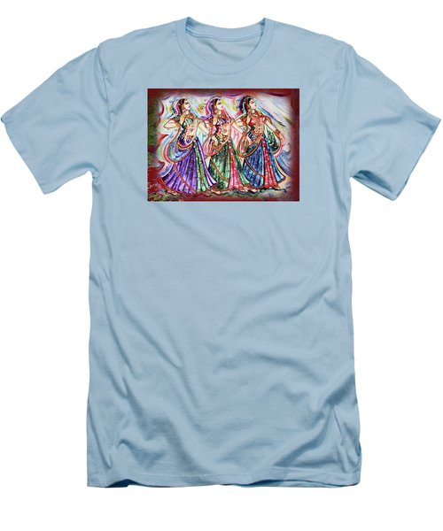 Men's T-Shirt (Slim Fit) featuring the painting Dancers by Harsh Malik
