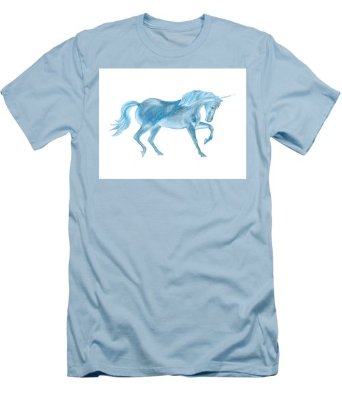 Men's T-Shirt (Athletic Fit) featuring the mixed media Dancing Blue Unicorn by Elizabeth Lock