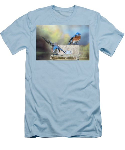 Men's T-Shirt (Slim Fit) featuring the photograph Dancing Bluebirds by Bonnie Barry