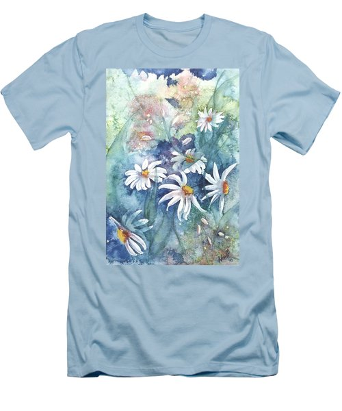 Men's T-Shirt (Slim Fit) featuring the painting Dancing Daisies by Renate Nadi Wesley