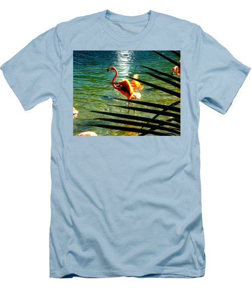 Dancing Flamingo Men's T-Shirt (Slim Fit) by Yolanda Rodriguez