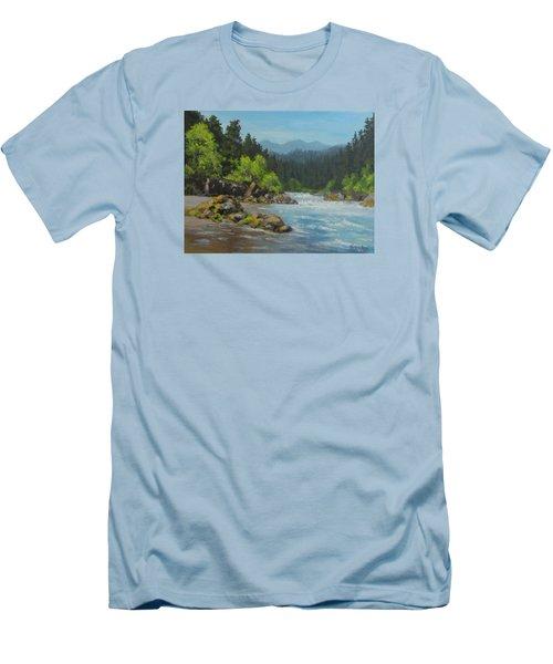 Men's T-Shirt (Slim Fit) featuring the painting Dancing River by Karen Ilari