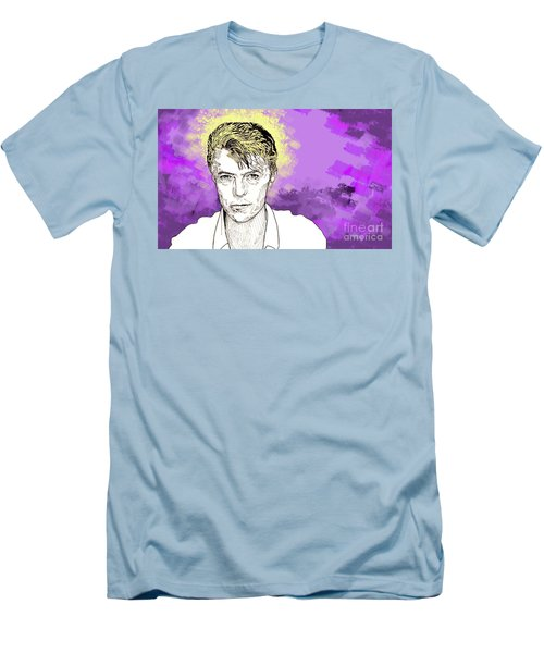 Men's T-Shirt (Slim Fit) featuring the drawing David Bowie by Jason Tricktop Matthews