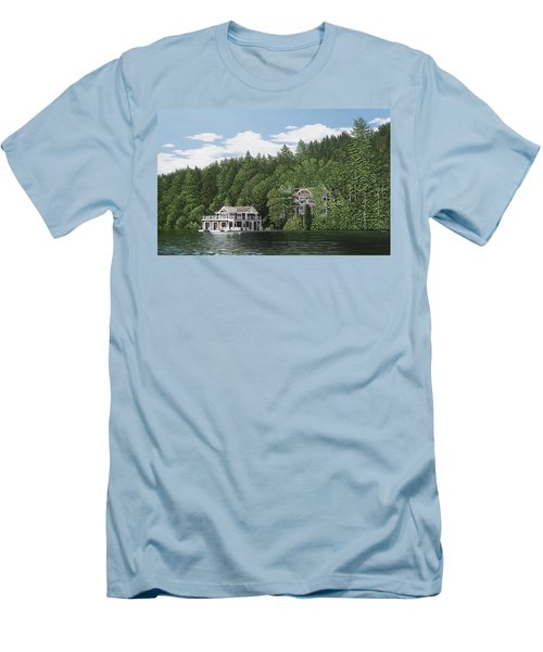Men's T-Shirt (Slim Fit) featuring the painting De Groote Summer Home Muskoka by Kenneth M Kirsch