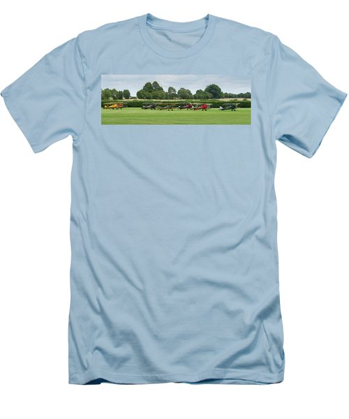 Men's T-Shirt (Athletic Fit) featuring the photograph De Havilland Tiger Moths Line-up by Gary Eason