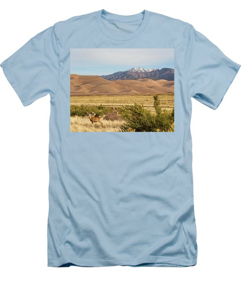 Men's T-Shirt (Slim Fit) featuring the photograph Deer And The Colorado Sand Dunes by James BO Insogna