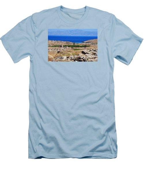 Delos Island View Of Agean Men's T-Shirt (Slim Fit) by Robert Moss