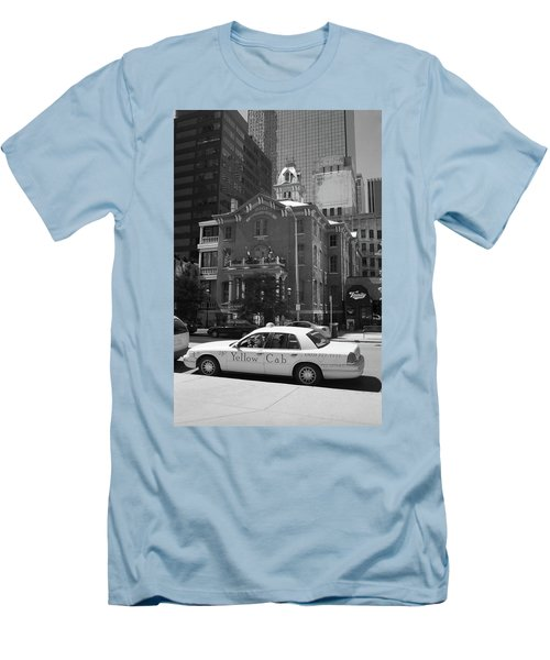 Denver Downtown With Yellow Cab Bw Men's T-Shirt (Slim Fit) by Frank Romeo
