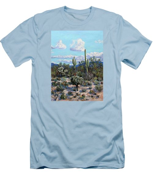 Men's T-Shirt (Slim Fit) featuring the painting Desert Landscape by M Diane Bonaparte