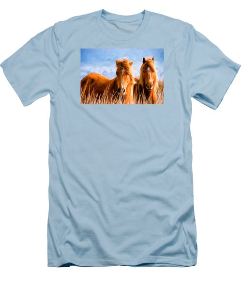 Men's T-Shirt (Slim Fit) featuring the painting Deuces Wild by Steven Richardson