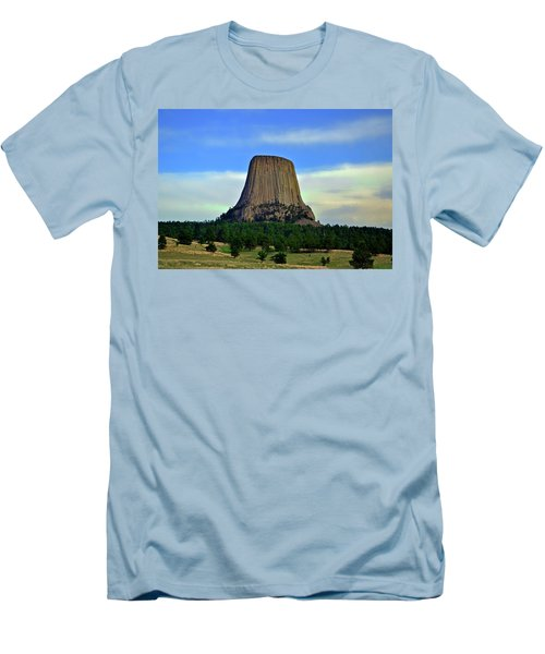 Men's T-Shirt (Slim Fit) featuring the photograph Devils Tower 002 by George Bostian